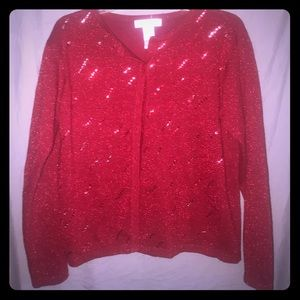 Dress Barn Red Holiday sequin sparkle cardigan
